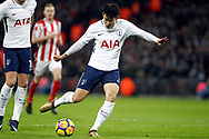 Son Heung-min of Tottenham Hotspur scores his team's second goal. Premier league match, Tottenham Hotspur v Stoke City at Wembley Stadium in London on Saturday 9th December 2017.<br /> pic by Steffan Bowen, Andrew Orchard sports photography.