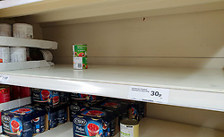 © Licensed to London News Pictures. 20/09/2020. London, UK. Empty shelf of chopped tomatoes tins in a Sainsbury's supermarket in London, as essential items start to run out, amid a possible second lockdown due to a rise in COVID-19  cases. Photo credit: Dinendra Haria/LNP
