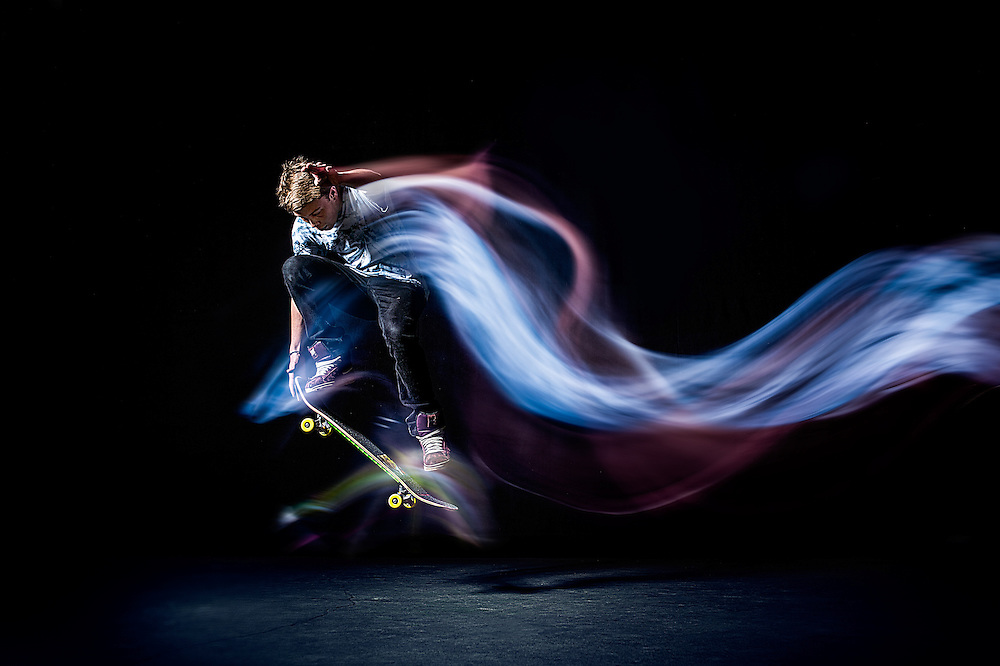 Skateboard images taken using a combination of continuos light and extremely short flash duration to capture the movement. Shot using Broncolor lighting.
