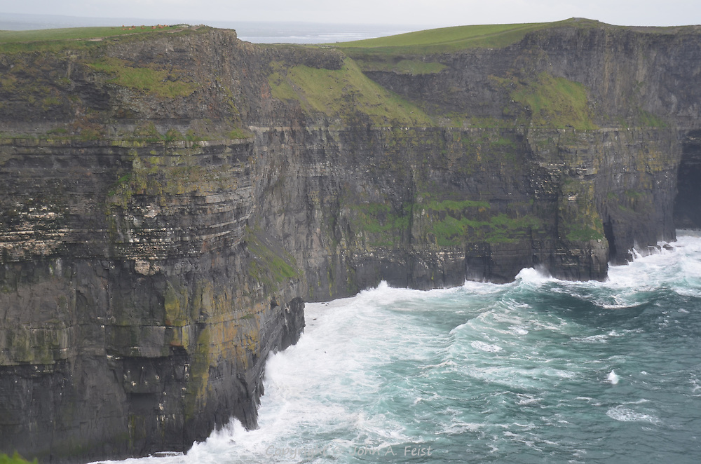 The weather was totally against us the day we visited the cliffs.  There were gale force winds and intermittent rain.  County Clare, Ireland.
