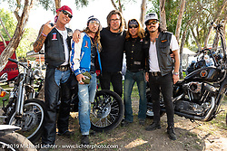 Custom bike builder and musician Gilby Clarke (formerly of Guns N' Roses) with friends at the Custom bike builder and musician Gilby Clarke (formerly of Guns N' Roses) on his Harley-Davidson Panhead at the Born-Free Vintage Motorcycle show at Oak Canyon Ranch, Silverado, CA, USA. Sunday, June 23, 2019. Photography ©2019 Michael Lichter.