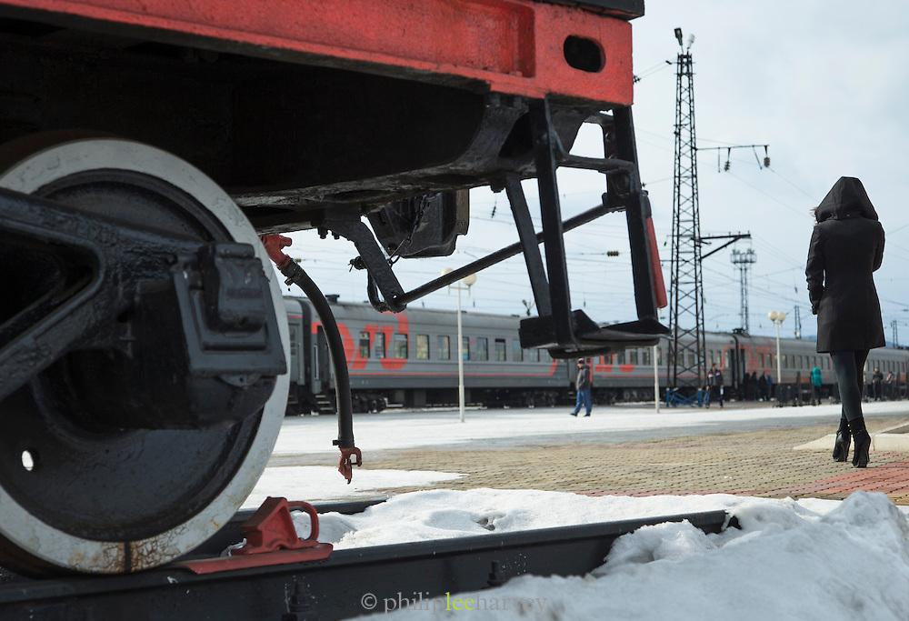 Steam Train EM-4249 as monument at Vikhorevka station, district of Irkutsk. Siberia, Russia