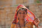 Rajasthani woman in traditional sari dress and jewelry Jodhpur, Rajasthan, India
