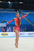 Vass Dora during qualifying at clubs in Pesaro World Cup at Adriatic Arena on April 11, 2015. Dora was born in Budapest on September 08,1991. She is a rhythmic gymnast since 1999 and member of the Hungarian National Team since 2004.