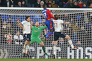 Christian Benteke of Crystal Palace heads the ball in to score his sides 1st goal and makes it 1-1. . Emirates FA Cup 3rd round replay match, Crystal Palace v Bolton Wanderers at Selhurst Park in London on Tuesday 17th January 2017.<br /> pic by John Patrick Fletcher, Andrew Orchard sports photography.