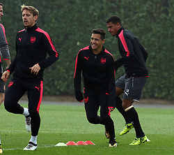 September 27, 2017 - London, England, United Kingdom - L-R Arsenal's Shkodran Mustafi Arsenal's Nacho Monreal and Arsenal's Alexis Sanchez.during a Arsenal training session ahead of the UEFA Europa League Group H match against BATE Borisov at Arsenal training centre , London Colney on 27 Sep 2017 St.Albans, England  (Credit Image: © Kieran Galvin/NurPhoto via ZUMA Press)