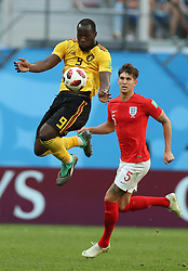 SAINT PETERSBURG, July 14, 2018  John Stones (bottom) of England vies with Romelu Lukaku of Belgium during the 2018 FIFA World Cup third place play-off match between England and Belgium in Saint Petersburg, Russia, July 14, 2018. (Credit Image: © Fei Maohua/Xinhua via ZUMA Wire)