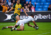 England centre Joe Marchant touches down for a try during the World Rugby U20 Championship  match England U20 -V- Australia U20 at The AJ Bell Stadium, Salford, Greater Manchester, England on June  15  2016, (Steve Flynn/Image of Sport)
