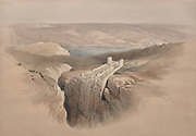 The Dead Sea Looking Towards Moab, 14839, Color lithograph by David Roberts (1796-1864). An engraving reprint by Louis Haghe was published in a the book 'The Holy Land, Syria, Idumea, Arabia, Egypt and Nubia. in 1855 by D. Appleton & Co., 346 & 348 Broadway in New York.