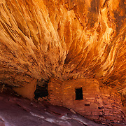 Reflected light at House on Fire (sometimes called Flaming House Ruin), an ancient Anasazi dwelling/granary deep in Utah's backcountry. The ruins in Mule Canyon are said to be over 800 years old and never restored in any way.