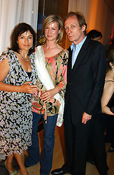 Left to right, DIANA QUICK, JOANNA JOHNSTON and BILL NIGHY at a party at The Sanderson Hotel, Bernnnnners Street, London in aid of Sargent Cancer Care for Children on 7th July 2004.