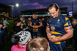 Anton Bresler of Worcester Warriors  signs autographs for fans after the game - Mandatory by-line: Craig Thomas/JMP - 27/01/2018 - RUGBY - Sixways Stadium - Worcester, England - Worcester Warriors v Exeter Chiefs - Anglo Welsh Cup