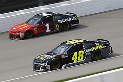 August 12, 2018 - Brooklyn, Michigan, United States of America - Jimmie Johnson (48) and Jamie McMurray (1) battle for position during the Consumers Energy 400 at Michigan International Speedway in Brooklyn, Michigan. (Credit Image: © Chris Owens Asp Inc/ASP via ZUMA Wire)