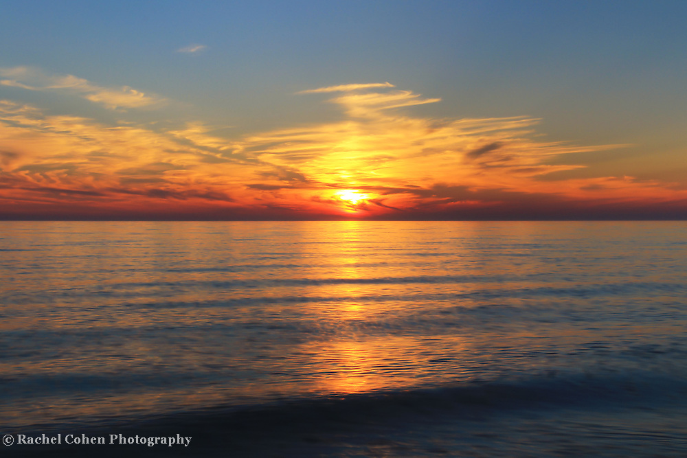 """""""Lingering Sunset"""" 2<br /> <br /> Beautiful vibrant yet soothing sunset on Lake Michigan!!<br /> <br /> Sunset Images by Rachel Cohen"""