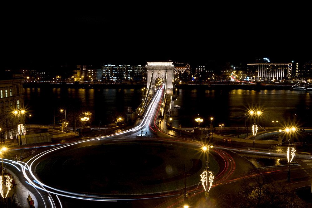 BUDAPEST, HUNGARY - DECEMBER 07:  A general view over the Szechenyi Chain Bridge on December 7, 2017 in Budapest, Hungary. The traditional Christmas market and lights will stay until 31st December 2017.