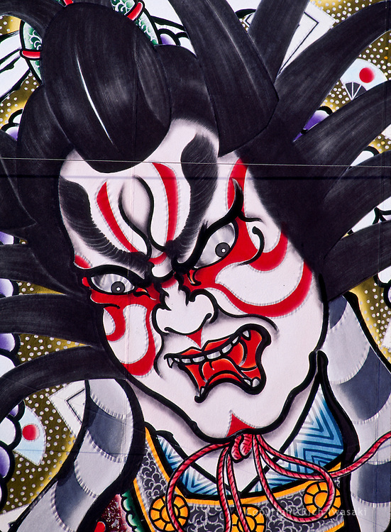 Detail view of painting on festival float at Hirosaki Neputa Matsuri (Neputa Festival), Hirosaki, Aomori Prefecture, Japan. The painting is on the float of Ozawa neputa honzonkai.