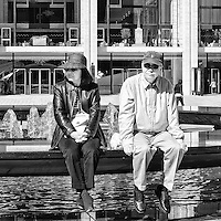Couple catching the scenery at Lincoln Center in New York City.