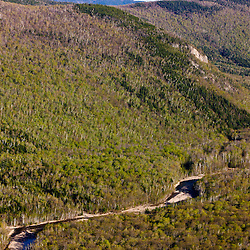 The Saco River in Crawford Notch as seen from Frankenstein Cliffs in New Hampshire's White Mountains.