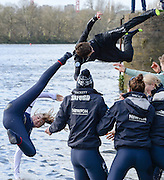 """London, Great Britain.<br /> """"Coxes Flying"""",  as both Blue boat winners traditionally throw their coves into the river after the  2016 Varsity Boat Race. Championship Course Mortlake to Putney. River Thames. Sunday  27/03/2016<br /> <br /> [Mandatory Credit: Intersport images]"""
