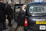 A newly-appointed QC Queens Council aka silk in legal vernacular climbs into a London cab after being sworn to his latest position at the House of Commons, on 11th March 2019, in London, England.