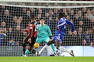 Junior Stanislas of Bournemouth taking a shot for goal. Barclays Premier league match, Chelsea v AFC Bournemouth at Stamford Bridge in London on Saturday 5th December 2015.<br /> pic by John Patrick Fletcher, Andrew Orchard sports photography.
