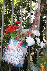 © Licensed to London News Pictures. 23/08/2013<br /> Only a few flowers remain on Artillery Place in Woolwich at the scene of the Lee Rigby murder.<br /> Photo credit :Grant Falvey/LNP