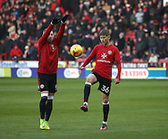 Caolan Lavery of Sheffield Utd and David Brooks of Sheffield Utd warm up during the English League One match at Bramall Lane Stadium, Sheffield. Picture date: December 26th, 2016. Pic Simon Bellis/Sportimage