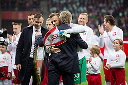 November 10, 2017 - Warsaw, Poland - President of the PZPN Zbigniew Boniek hugs goalkeeper Artur Boruc before his last game for the national team during the international friendly soccer match between Poland and Uruguay at the PGE National Stadium in Warsaw, Poland on 10 November 2017  (Credit Image: © Mateusz Wlodarczyk/NurPhoto via ZUMA Press)