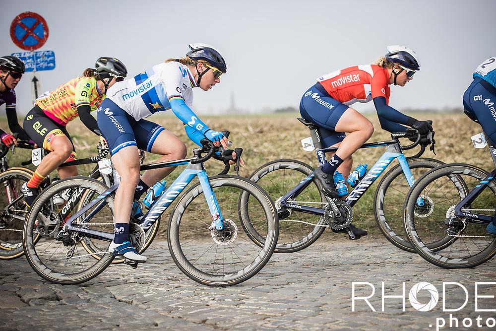 Annemiek Van Vleuten (NED/Movistar) <br /> <br /> 13th Women's Omloop Het Nieuwsblad 2021 <br /> 1 Day Race: Gent – Ninove 124km<br /> <br /> ©Rhode.Photo