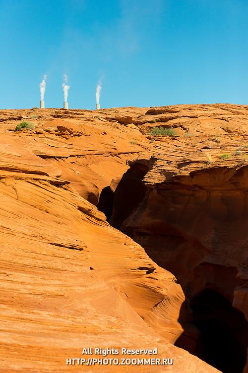 Antelope Canyon And Navajo Generation Station Pipes