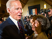 18 JANUARY 2020 - INDIANOLA, IOWA: Former Vice President JOE BIDEN talks to a woman on the rope line after speaking during a campaign event at Simpson College Saturday. About 250 people came to Simpson College to listen to Vice President talk about his reasons for running for President. Iowa hosts the first event of the presidential election cycle. The Iowa Caucuses are Feb. 3, 2020.          PHOTO BY JACK KURTZ