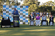 February 19th 2017, Lake Karrinyup Country Club, Perth, Western Australia, Australia; ISPS Handa World Super 6 Perth Golf Tournament Day 4; Trophy proceedings after Brett Rumford won the ISPS Handa World Super 6 Tournament