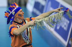 Mask of fans at volleyball match of CEV Indesit Champions League Men 2008/2009 between ACH Volley Bled (SLO) and Beauvais Oise (FRA), on December 11, 2008 in Hala Tivoli, Ljubljana, Slovenia. (Photo by Vid Ponikvar / Sportida)