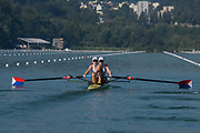 Lucerne, SWITZERLAND, 13th July 2018, Friday USA1 W2-, bow, Erin REELICK ,and Molly BRIGGEMAN, at the start of the Heat in the Women's pair, start , FISA World Cup series, No.3, Lake Rotsee, Lucerne, © Peter SPURRIER,