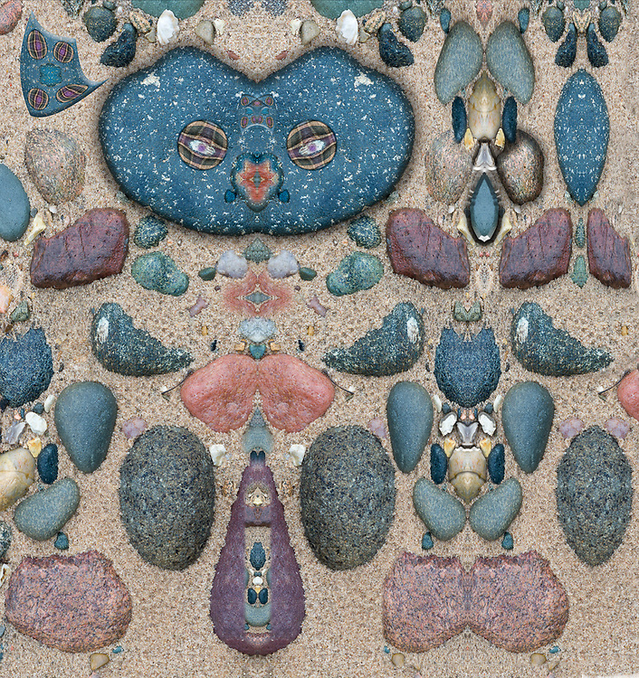 """""""Protector of the Petoskey Stones Field""""  derivative image of a photo of stones in a sand dune, Lower Peninsula, Michigan, USA"""