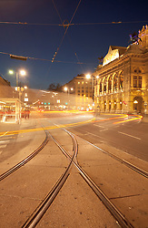 Traffic night movement motion Vienna opera house