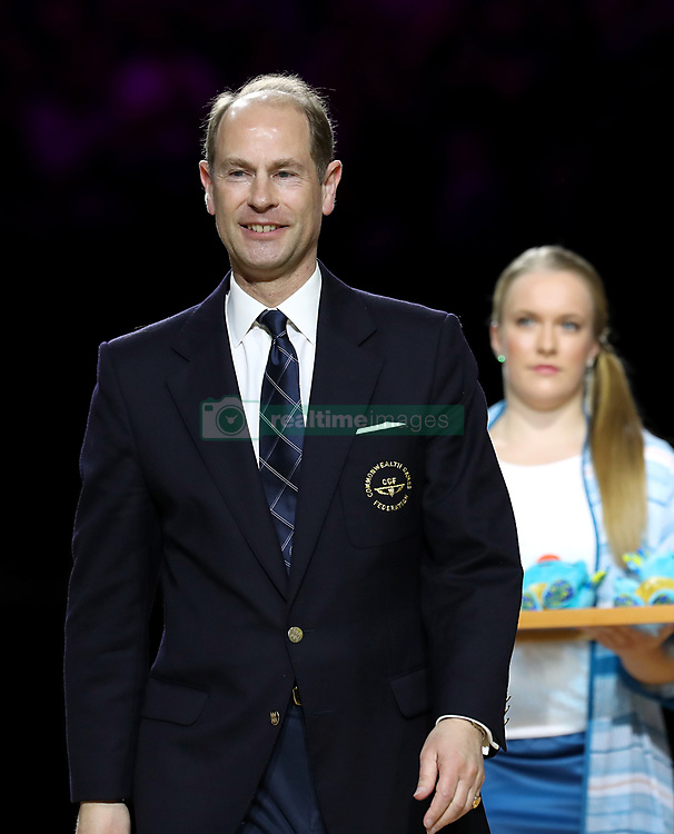 Prince Edward presents medals for the or Rhythmic Gymnatics Individual All-Around Team in the at the Coomera Indoor Sports Centre during day seven of the 2018 Commonwealth Games in the Gold Coast, Australia.