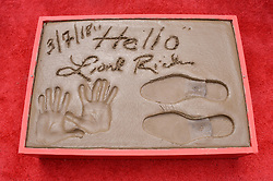 Lionel Richie Hand & Footprint in Cement at the Lionel Richie Hand and Footprint Ceremony held at the TCL Chinese Theatre in Hollywood, CA  on Wednesday, March 7, 2018. (Photo By Sthanlee B. Mirador/Sipa USA)