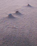 Three small stones raised above the sand by wind erosion at Achnahaird beach in Assynt, Scotland.