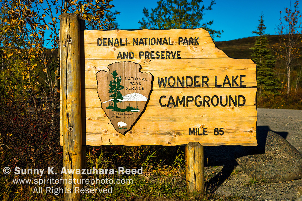 Sign of Wonder Lake Campground, Denali National Park & Preserve, Interior Alaska, Autumn.