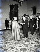 Alibrandi Right Reverent Monsignor Seatano, Albert Levame, Credentials been presented, Naunciture, 10-8-1956<br /> Sean T O'Kelly Áras an Uachtaráin