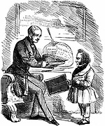 Albert, Prince Consort of Queen Victoria, handing Joseph Paxton, designer of the Crystal Palace,  a £20,000 slice of 'Solid Pudding' from the surplus funds from the Great Exhibition of 1851 in Hyde Park, London. John Tenniel cartoon from 'Punch'. Wood engraving