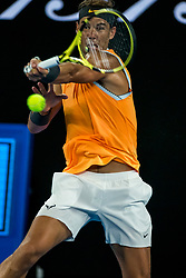 January 16, 2019 - Melbourne, AUSTRALIA - RAFAEL NADAL of Spain returns the ball to Matthew Ebden of Australia during day 3 of the Australian Open at Melbourne Park in Melbourne, Australia. Nadal won 6:3, 6:2, 6:2.  (Credit Image: © Jason Heidrich/Icon SMI via ZUMA Press)
