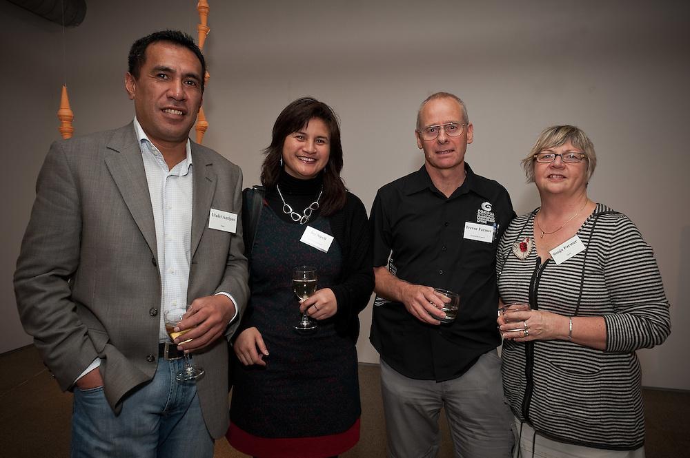 Utulei Antipas, Joy Sipeli, Trevor and Sonja Farmer. Pataka cocktail function. Photo by Mark Tantrum