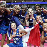09 August 2012: Team France players celebrate after the 81-64 Team France victory over Team Russia, during the women's basketball semi-finals, at the 02 Arena, in London, Great Britain.