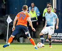 Blackpool's Jack Payne tries to find a way past Luton Town's Oliver Lee<br /> <br /> Photographer David Shipman/CameraSport<br /> <br /> The EFL Sky Bet League Two - Luton Town v Blackpool - Saturday 1st April 2017 - Kenilworth Road - Luton<br /> <br /> World Copyright © 2017 CameraSport. All rights reserved. 43 Linden Ave. Countesthorpe. Leicester. England. LE8 5PG - Tel: +44 (0) 116 277 4147 - admin@camerasport.com - www.camerasport.com