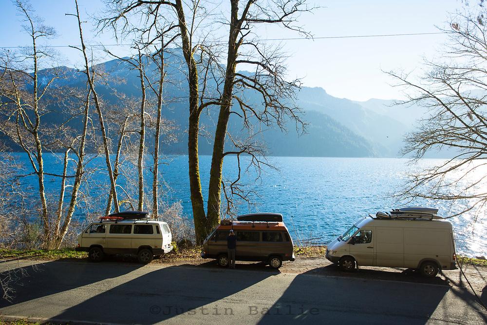 Van camping, Olympic Peninsula, Washington.