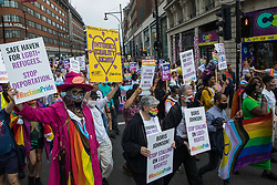 London, UK. 24th July, 2021. Thousands of LGBTI+ protesters take part in the first-ever Reclaim Pride march. Reclaim Pride replaced the traditional Pride in London march, which many feel has become too commercial and strayed from its roots in protest, and was billed as a People's Pride march for LGBTI+ liberation.