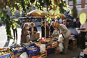 Thursday Market in the Plaza Del Raso, Calahorra. Calahorra is the major town in the Baja region of La Rioja. The Romans had a great presence here in ancient times and this is the birthplace of both the great Roman scholar Quintilian (A.D 35-100) and the poet Prudentius. .La Rioja, Calahorra, Spain.