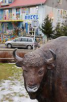 Local pride - Fibre-glass statues of European bison, Bison bonasus, in a village in the Drawsko area, Western Pomerania, Poland